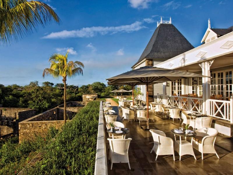 La terrasse du Château Mon Désir à l'île Maurice